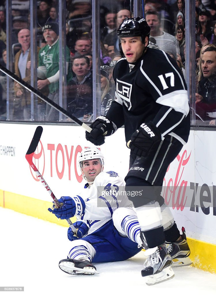 Nazem Kadri #43 of the Toronto Maple Leafs reacts from the ice after a check from Milan Lucic #17 of the Los Angeles Kings during the first period at Staples Center on January 7, 2016 in Los Angeles, California.