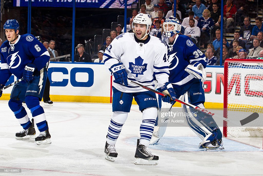 <a gi-track='captionPersonalityLinkClicked' href=/galleries/search?phrase=Nazem+Kadri&family=editorial&specificpeople=4043234 ng-click='$event.stopPropagation()'>Nazem Kadri</a> #43 of the Toronto Maple Leafs reacts to a play during the third period of the game against the Tampa Bay Lightning at the Tampa Bay Times Forum on February 19, 2013 in Tampa, Florida.