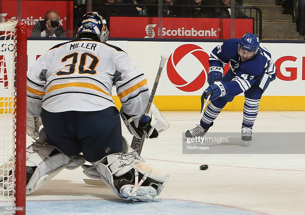 Nazem Kadri #43 of the Toronto Maple Leafs shoots on Ryan Miller #30 of the Buffalo Sabres during NHL action at the Air Canada Centre February 21, 2013 in Toronto, Ontario, Canada.