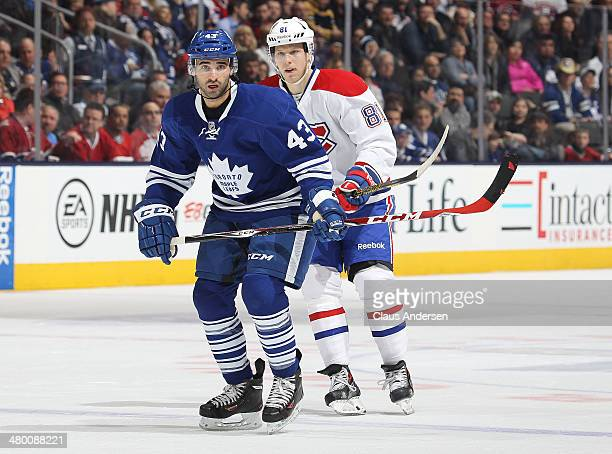 Nazem Kadri of the Toronto Maple Leafs skates against the Montreal Canadiens during an NHL game at the Air Canada Centre on March 22 2014 in Toronto...