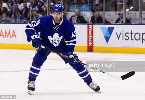 Nazem Kadri of the Toronto Maple Leafs skates against the Pittsburgh Penguins during the first period at the Air Canada Centre on April 8 2017 in...
