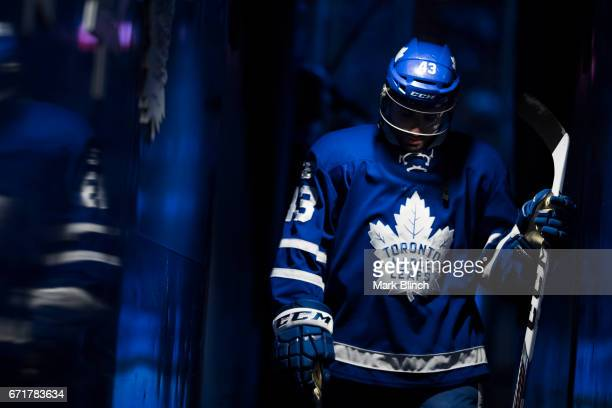 Nazem Kadri of the Toronto Maple Leafs walks off the ice prior to playing the Washington Capitals in Game Four of the Eastern Conference First Round...