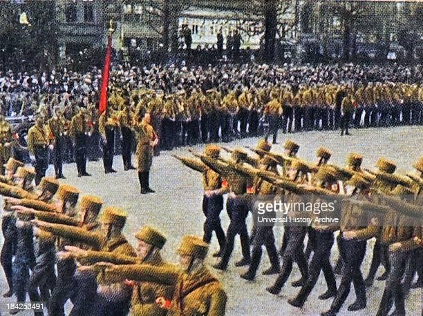 Nazi brownshirts march through Braunschweig 1932
