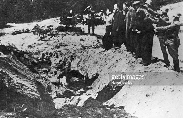 Nazi SS Special Commanders line up Kiev Jews to execute them with guns and push them in to a ditch already containing bodies of victims The Babi Yar...