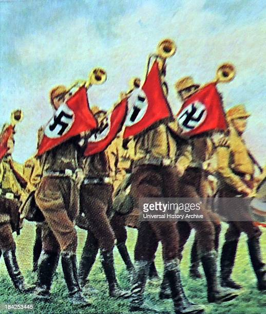 Nazi trumpeters at a rally in 1933