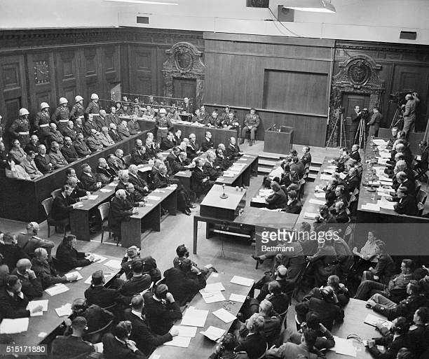 Nazi War Criminals Sentenced Nuremberg Germany Defendants at the Nuremberg trial listen with varied expressions as their sentences are meted out to...
