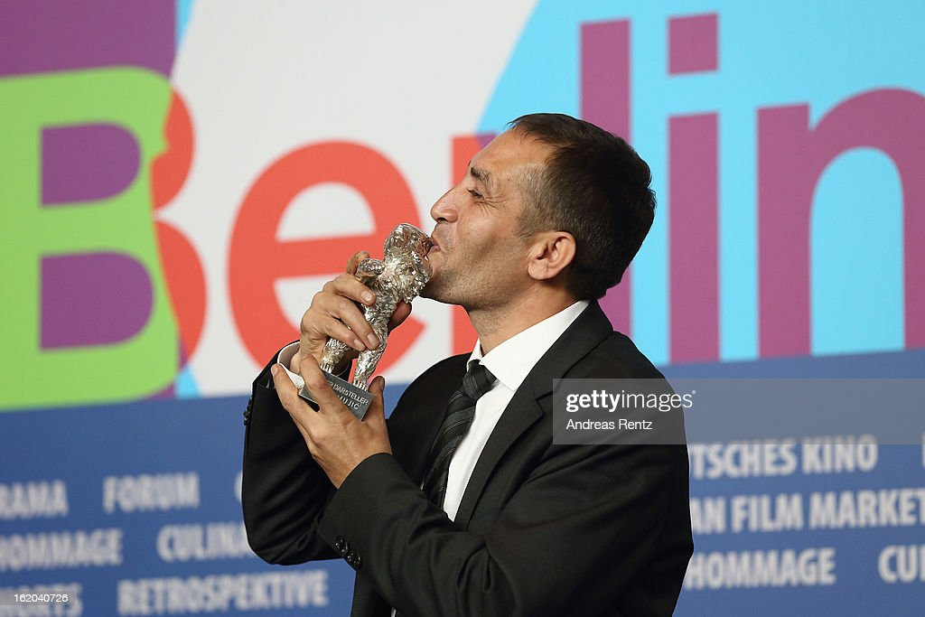Nazif Mujic with his Silver Bear for the best actor award at the Award Winners press conference during the 63rd Berlinale International Film Festival at Grand Hyatt Hotel on February 16, 2013 in Berlin, Germany.