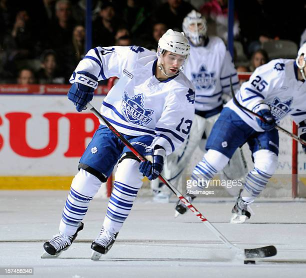 Nazim Kadri of the Toronto Marlies carries the puck against the Rochester Americans during AHL game action December 1 2012 at Ricoh Coliseum in...