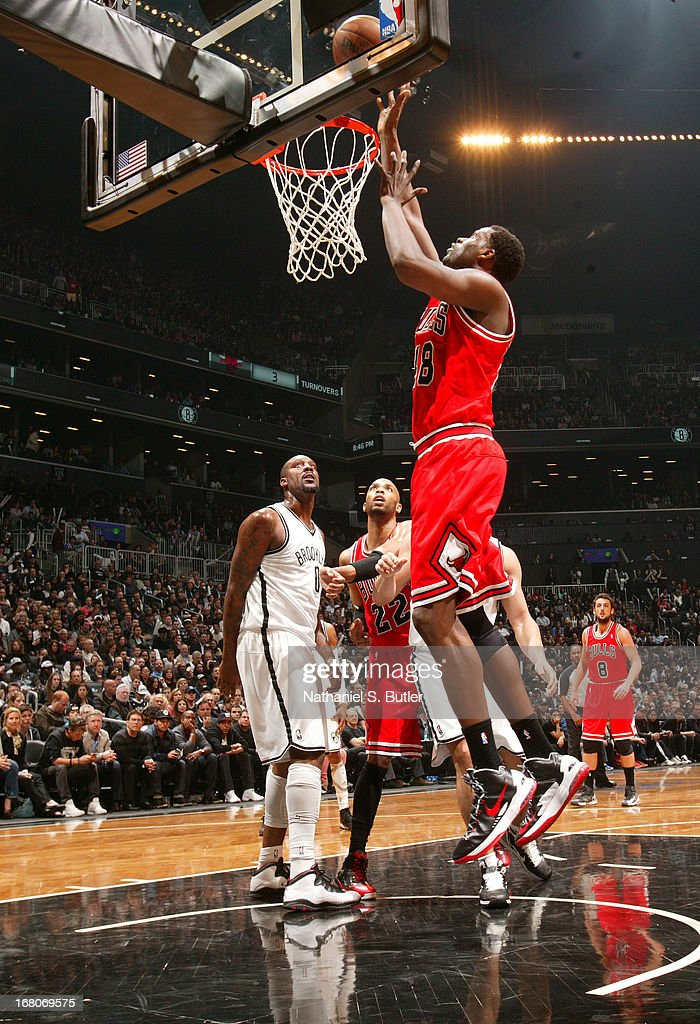 Nazr Mohammed #48 of the Chicago Bulls goes for a layup during the Game Seven of the Eastern Conference Quarterfinals between the Chicago Bulls and the Brooklyn Nets during the 2013 NBA Playoffs at the Barclays Center on May 4, 2013 in the Brooklyn borough of New York City.