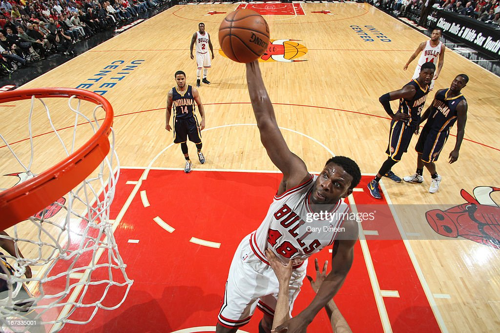 Nazr Mohammed #48 of the Chicago Bulls grabs a rebound against the Indiana Pacers on March 23, 2013 at the United Center in Chicago, Illinois.