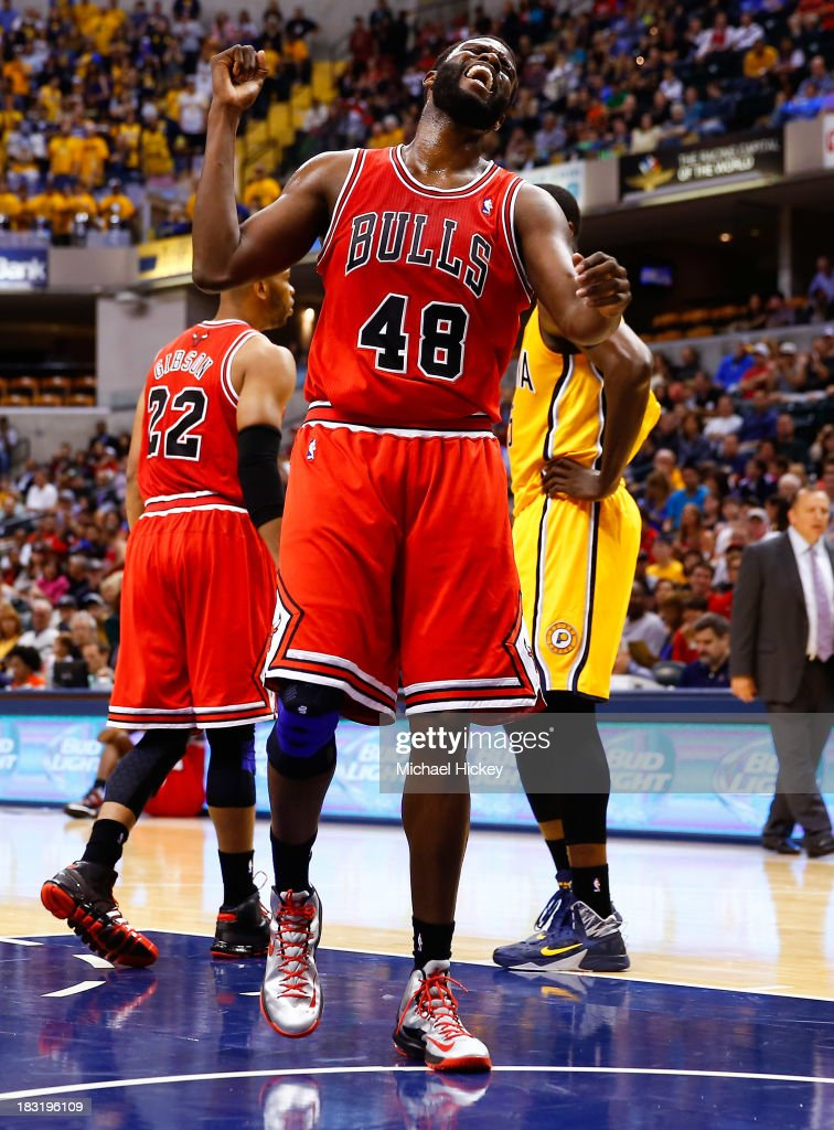 <a gi-track='captionPersonalityLinkClicked' href=/galleries/search?phrase=Nazr+Mohammed&family=editorial&specificpeople=201690 ng-click='$event.stopPropagation()'>Nazr Mohammed</a> #48 of the Chicago Bulls reacts after a play against the Indiana Pacers on October 5, 2013 at Bankers Life Fieldhouse in Indianapolis, Indiana. Chicago defeated Indiana 82-76.