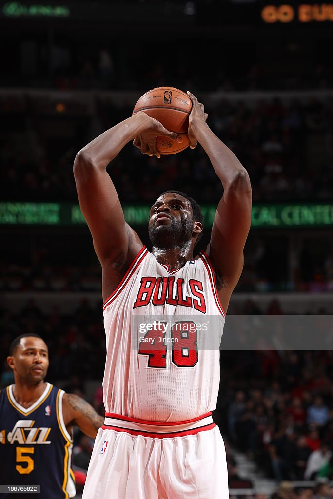<a gi-track='captionPersonalityLinkClicked' href=/galleries/search?phrase=Nazr+Mohammed&family=editorial&specificpeople=201690 ng-click='$event.stopPropagation()'>Nazr Mohammed</a> #48 of the Chicago Bulls shoots a free throw during the game against the Utah Jazz on March 08, 2013 at the United Center in Chicago, Illinois.