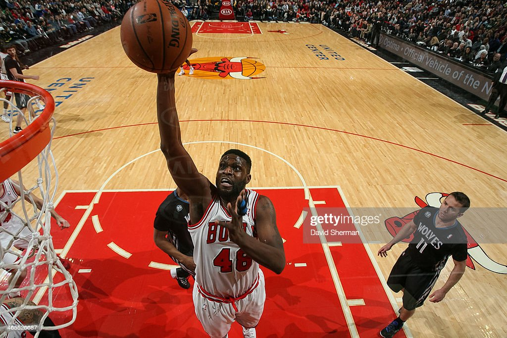 Nazr Mohammed #48 of the Chicago Bulls shoots against the Minnesota Timberwolves on January 27, 2014 at the United Center in Chicago, Illinois.
