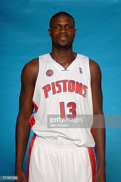 Nazr Mohammed of the Detroit Pistons poses for a portrait during NBA Media Day at the Pistons Practice Facility on October 1 2007 in Auburn Hills MI...