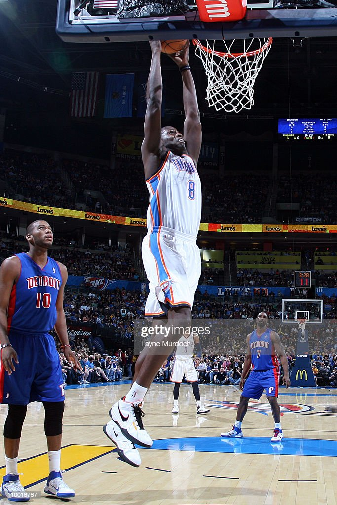<a gi-track='captionPersonalityLinkClicked' href=/galleries/search?phrase=Nazr+Mohammed&family=editorial&specificpeople=201690 ng-click='$event.stopPropagation()'>Nazr Mohammed</a> #8 of the Oklahoma City Thunder dunks against the Detroit Pistons during the game on March 11, 2011 at the Oklahoma City Arena in Oklahoma City, Oklahoma.