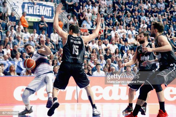 Nazzareno Italiano of Kontatto competes with Andrea Michelori and Klaudio Ndoja and Gabriele Spizzichini of Segafredo during the LegaBasket LNP of...