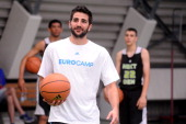 Nba player Ricky Rubio is seen in action during adidas Eurocamp day two at La Ghirada sports center on June 8 2014 in Treviso Italy