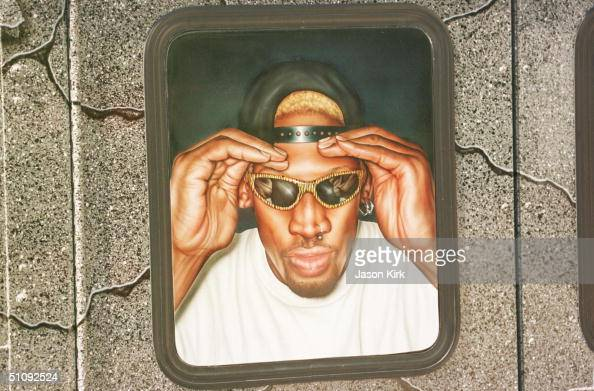 Nba Star Dennis Rodman Has His Car Painted To Look Like He Is Looking Through The Window Of His Car Parked Outside Of His House August 31 2000 In...