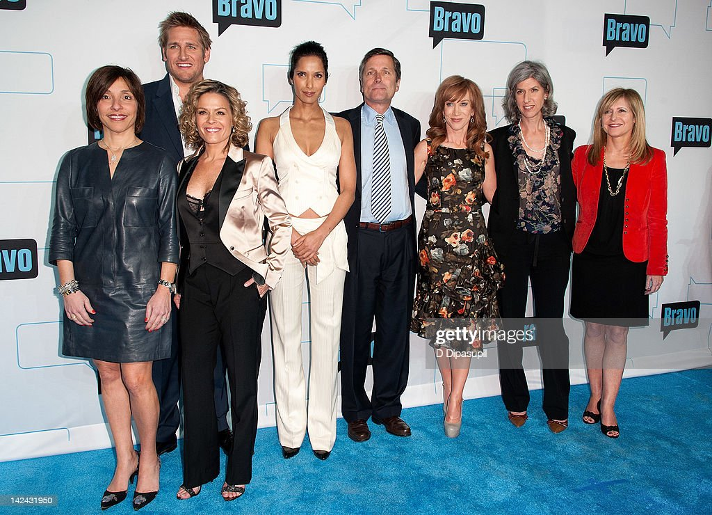 NBCUniversal Cable Entertainment & Digital Ad Sales president Linda Yaccarino, Curtis Stone, Cat Cora, Padma Lakshmi, NBCUniversal CEO Steve Burke, Kathy Griffin, NBCUniversal Entertainment & Digital Networks and Integrated Media chairman Lauren Zalaznick, and Bravo and Style Media president Frances Berwick attend Bravo Upfront 2012 at Center 548 on April 4, 2012 in New York City.