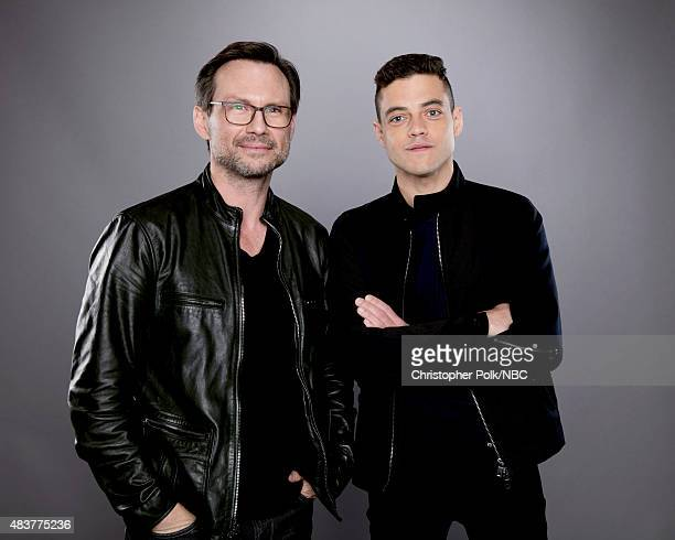 EVENTS NBCUniversal Portrait Studio August 2015 Pictured Actors Christian Slater and Rami Malek from 'Mr Robot' pose for a portrait at the...