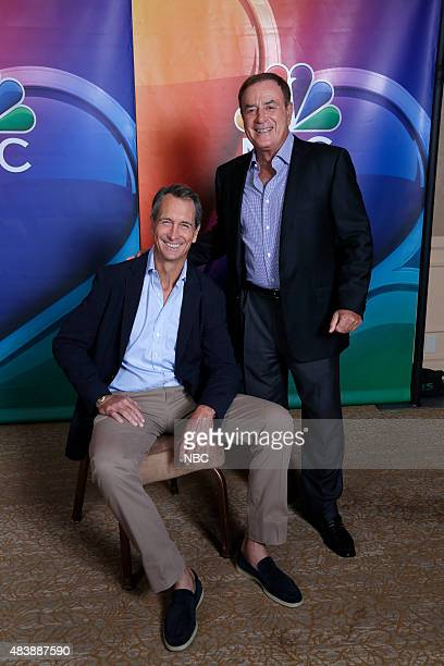EVENTS NBCUniversal Press Tour August 2015 'NBC Sunday Night Football' Pictured Chris Collinsworth Analyst Al Michaels PlaybyPlay Announcer