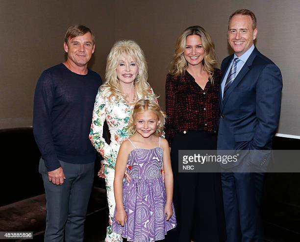 EVENTS NBCUniversal Press Tour August 2015 NBC's 'Dolly Parton's Coat of Many Colors' Session Pictured Ricky Schroder Dolly Parton Alyvia Alyn Lind...