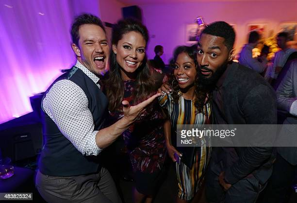 EVENTS NBCUniversal Press Tour August 2015 Spago Party Pictured MarkPaul Gosselaar Vanessa Lachey Bresha Webb Tone Bell NBC's 'Truth Be Told'