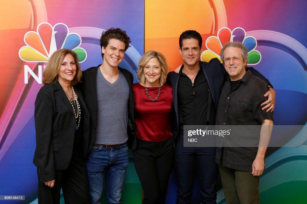 EVENTS -- NBCUniversal Press Tour, August 2017 -- 'Law & Order True Crime: The Menendez Murders' cast -- Pictured: (l-r) Lesli Linka Glatter, Executive Producer/Director; Gus Halper, Edie Falco, Miles Gaston Villanueva, Rene Balcar, Executive Producer/Showrunner --