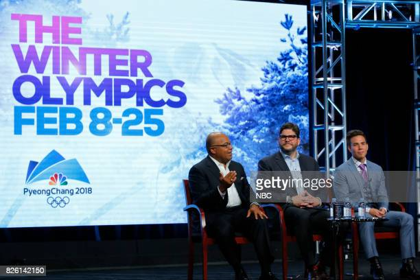 EVENTS NBCUniversal Press Tour August 2017 'The Winter Olympics' Session Pictured Mike Tirico Primetime Host NBC Olympics Jim Bell President NBC...
