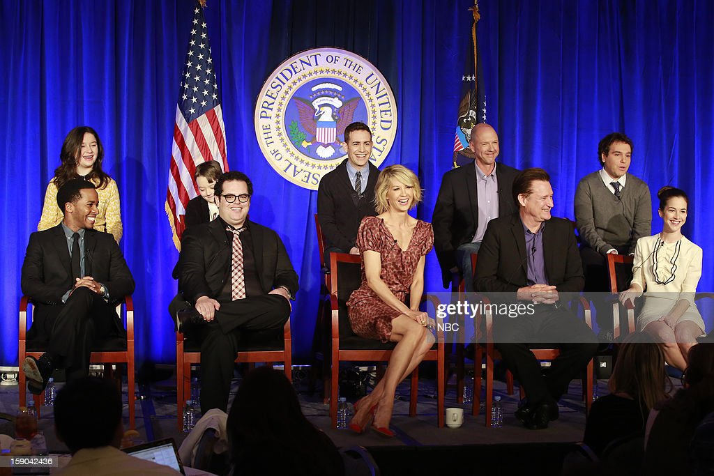 EVENTS -- NBCUniversal Press Tour January 2013 -- '1600 Penn' -- Pictured: (l-r) Back Row: Amara Miller, Benjamin Stockman, Jason Winer, Executive Producer; Mike Royce, Executive Producer, Jon Lovett, Executive Producer; Front Row: Andrew Holland, Josh Gad, Star/Executive Producer, Jenna Elfman, Bill Pullman, Martha MacIsaac --
