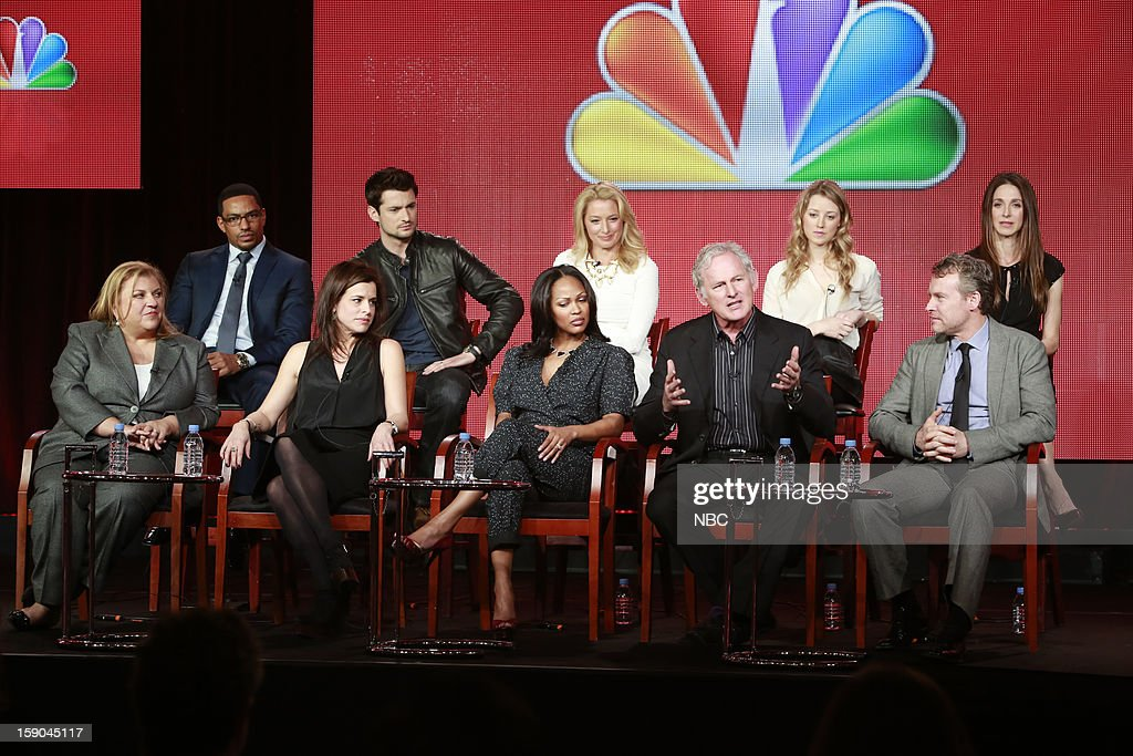 EVENTS -- NBCUniversal Press Tour January 2013 -- 'Deception' -- Pictured: Pictured: (l-r) top row; Laz Alonzo, Wes Brown, Katherine LaNasa, Ella Rae Peck, Marin Hinkle, bottom row; Gail Berman, Executive Producer; Liz Heldens, Executive Producer; Meagan Good, Victor Garber, Tate Donovan --
