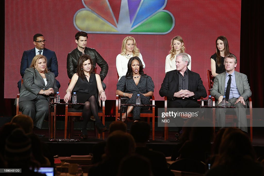 EVENTS -- NBCUniversal Press Tour January 2013 -- 'Deception' -- Pictured: (l-r) top row; Laz Alonzo, Wes Brown, Katherine LaNasa, Ella Rae Peck, Marin Hinkle, bottom row; Gail Berman, Executive Producer; Liz Heldens, Executive Producer; Meagan Good, Victor Garber, Tate Donovan --