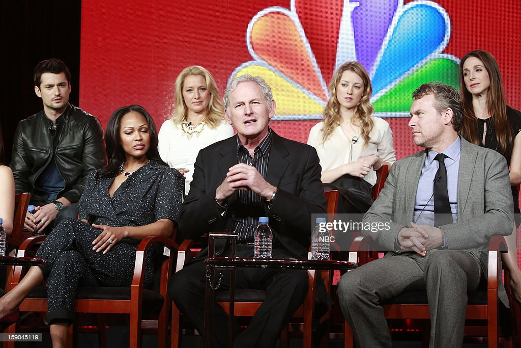 EVENTS -- NBCUniversal Press Tour January 2013 -- 'Deception' -- Pictured: (l-r) top row; Wes Brown, Katherine LaNasa, Ella Rae Peck, Marin Hinkle, bottom row; Meagan Good, Victor Garber, Tate Donovan --