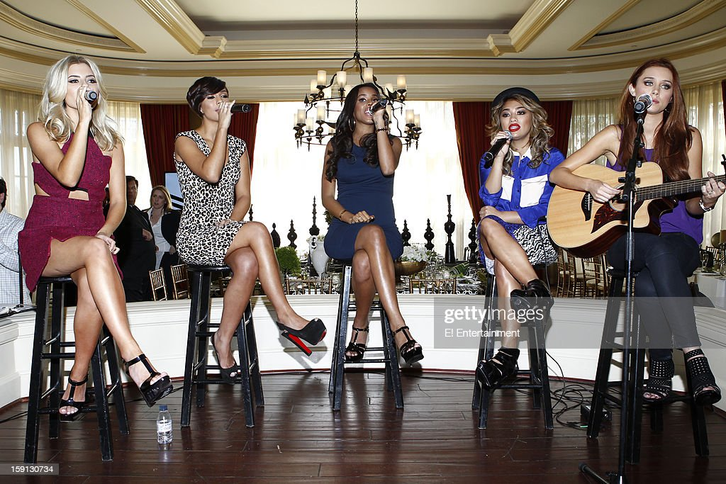 EVENTS -- NBCUniversal Press Tour January 2013 -- Pictured: (l-r) Mollie King, Frankie Sandford, Rochelle Humes, Vanessa White, Una Healy, 'Chasing the Saturdays' --