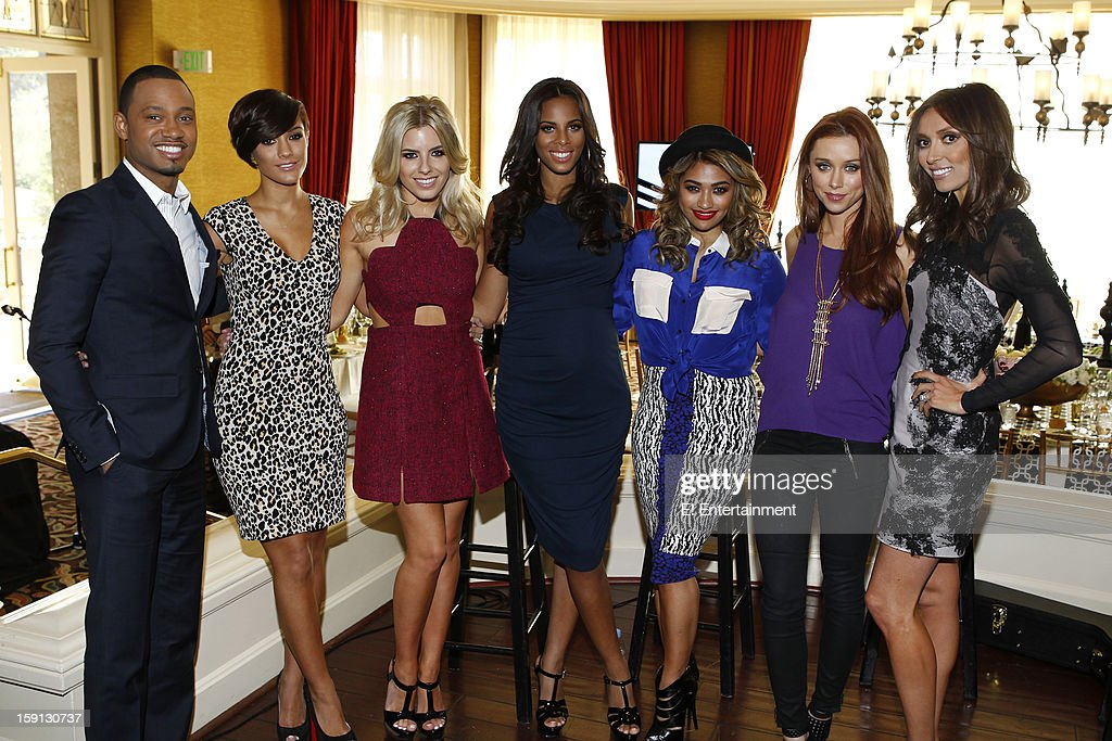 EVENTS -- NBCUniversal Press Tour January 2013 -- Pictured: (l-r) Terrence Jenkins, Frankie Sandford, Mollie King, Rochelle Humes, Vanessa White, Una Healy, Giuliana Rancic --