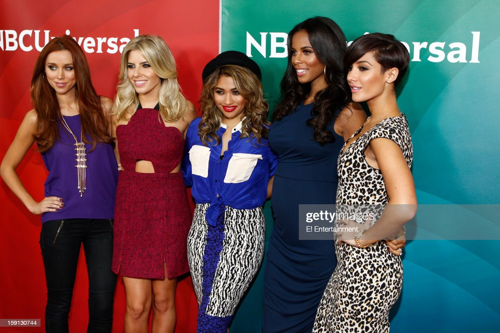 EVENTS -- NBCUniversal Press Tour January 2013 -- Pictured: (l-r) Una Healy, Mollie King, Vanessa White, Rochelle Humes, Frankie Sandford, 'Chasing the Saturdays' --