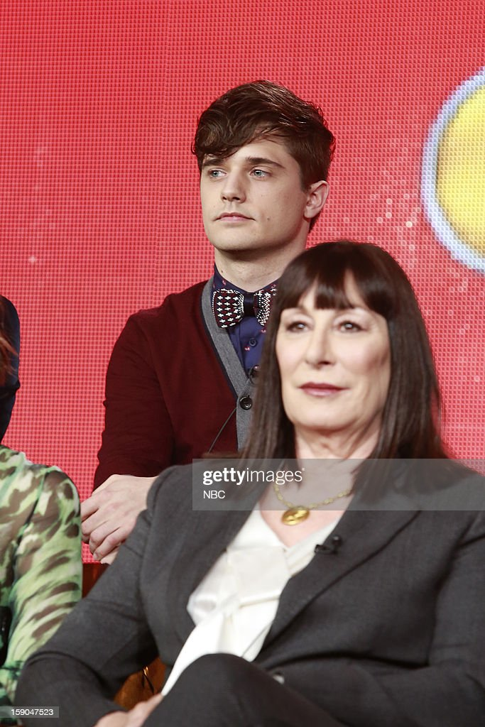 EVENTS -- NBCUniversal Press Tour January 2013 -- 'Smash' -- Pictured: (l-r) Andy Mientus, Anjelica Huston --