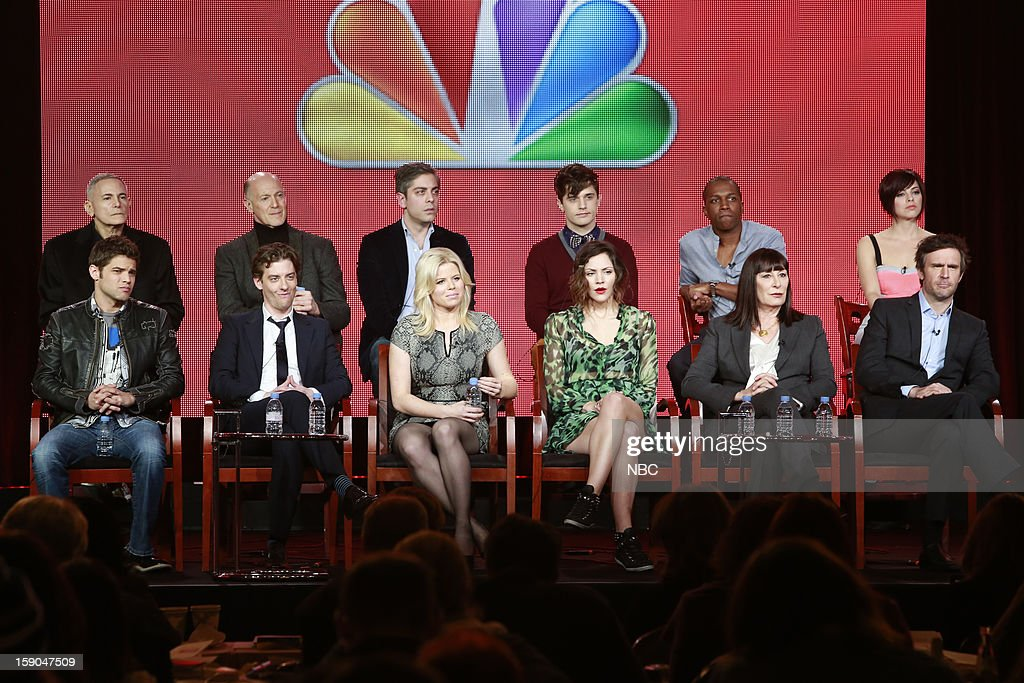 EVENTS -- NBCUniversal Press Tour January 2013 -- 'Smash' -- Pictured: (l-r) Back Row: Craig Zadan, Executive Producer, Neil Meron, Executive Producer, Joshua Safran, Executive Producer; Andy Mientus, Leslie Odom, Jr., Krysta Rodriguez; Front Row: Jeremy Jordan, Christian Borle, Megan Hilty, Katharine McPhee, Anjelica Huston, Jack Davenport --