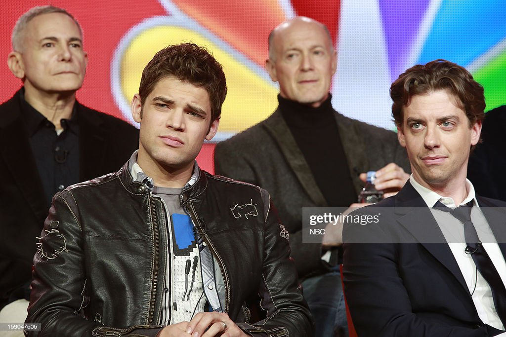 EVENTS -- NBCUniversal Press Tour January 2013 -- 'Smash' -- Pictured: (l-r) Craig Zadan, Executive Producer; Jeremy Jordan, Neil Meron, Executive Producer, Christian Borle --