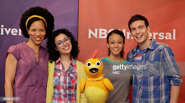 EVENTS NBCUniversal Press Tour January 2014 Pictured 'The Sunny Side Up Show' Dennisha Pratt Host Carly Ciarocchi Host Chica the Chicken Kaitlin...