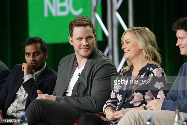 EVENTS NBCUniversal Press Tour January 2015 'Parks and Recreation' Session Pictured Aziz Ansari Chris Pratt Amy Poehler