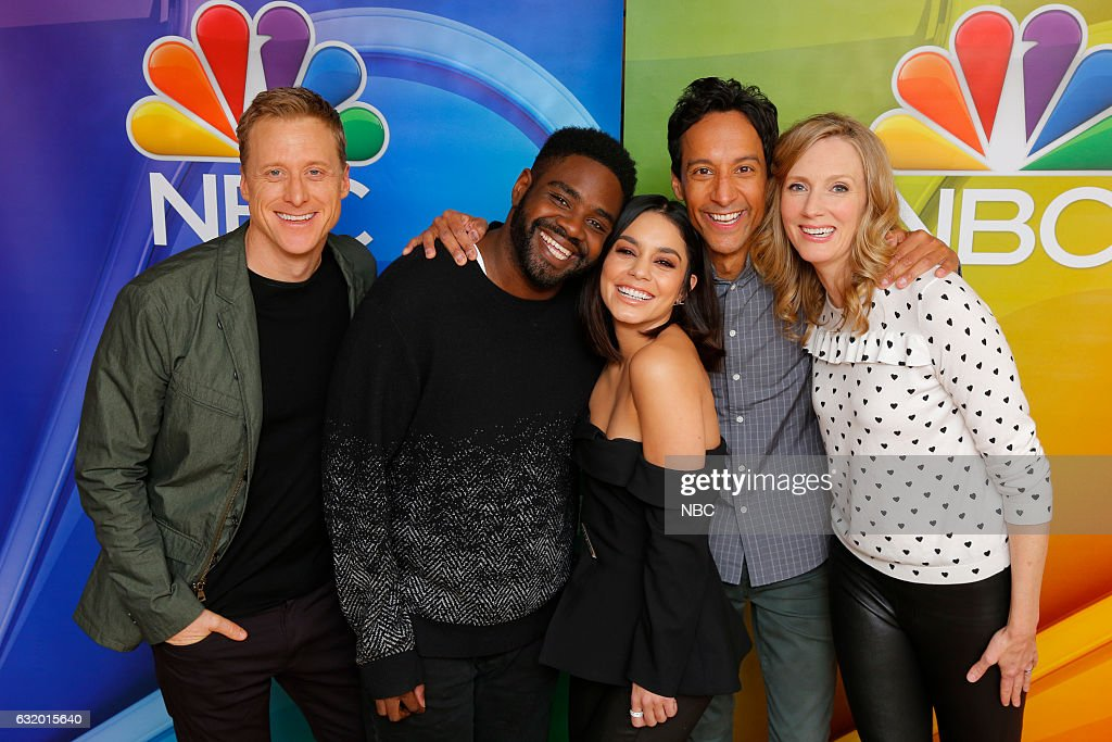 EVENTS -- NBCUniversal Press Tour, January 2017 -- NBC's 'Powerless' -- Pictured: (l-r) Alan Tudyk, Ron Funches, Vanessa Hudgens, Danny Pudi, Christina Kirk --