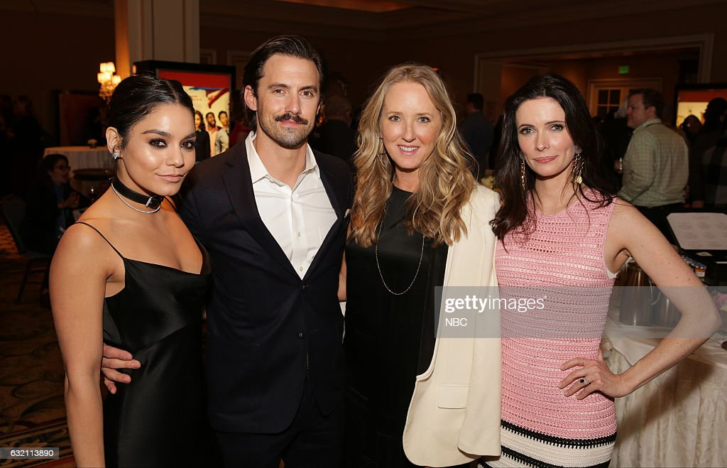EVENTS -- NBCUniversal Press Tour, January 2017 -- NBCUniversal Party -- Pictured: (l-r) Vanessa Hudgens, 'Powerless'; Milo Ventimiglia, 'This is Us'; Jennifer Salke, President, NBC Entertainment; Bitsie Tulloch, 'Grimm' --