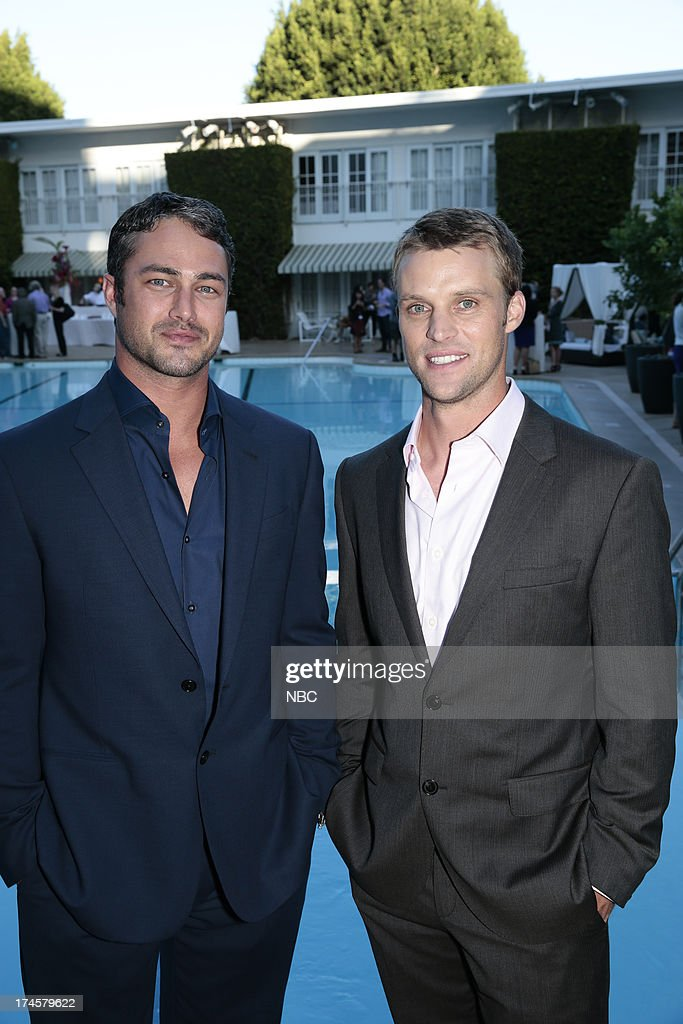 EVENTS -- NBCUniversal Press Tour July 2013 -- 'Cocktail Reception' -- Pictured: (l-r) Taylor Kinney, 'Chicago Fire,' Jesse Spencer, 'Chicago Fire' --