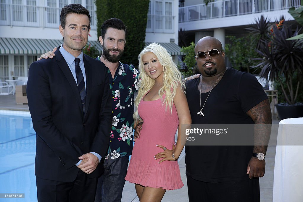 EVENTS -- NBCUniversal Press Tour July 2013 -- 'NBC Cocktail Reception' -- Pictured: (l-r) Carson Daly, Adam Levine, Christina Aguilera, CeeLo Green of 'The Voice' --