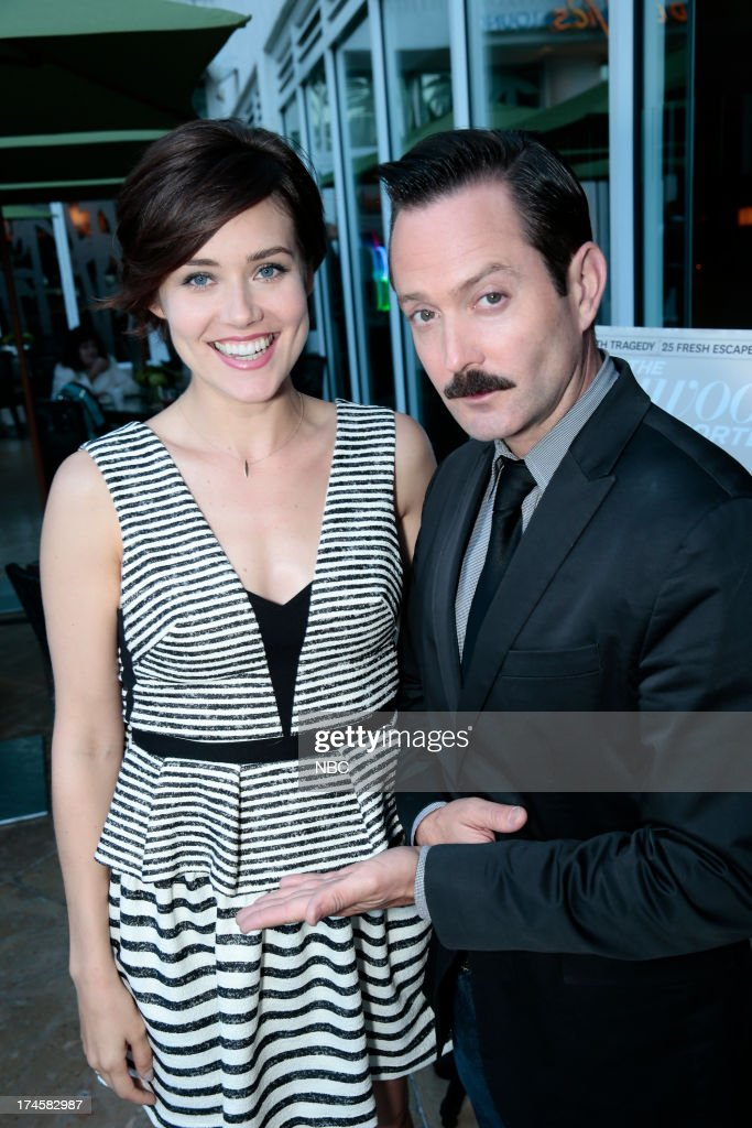EVENTS -- NBCUniversal Press Tour July 2013 -- 'NBC Cocktail Reception' -- Pictured: (l-r) Megan Boone, 'The Blacklist,' Thomas Lennon, 'Sean Saves the World' --