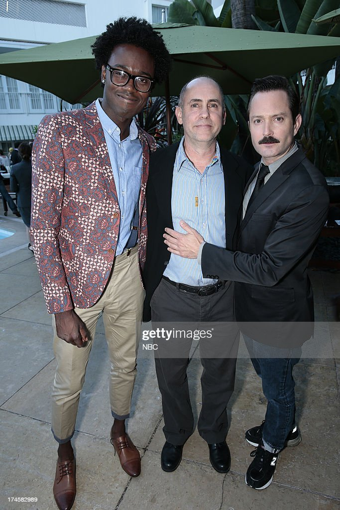 EVENTS -- NBCUniversal Press Tour July 2013 -- 'NBC Cocktail Reception' -- Pictured: (l-r) Echo Kellum, 'Sean Saves the World,' Victor Fresco, Executive Producer 'Sean Saves the World,' Thomas Lennon 'Sean Saves the World' --