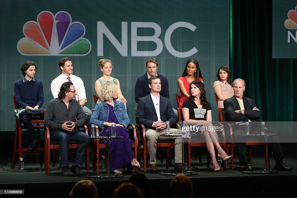 EVENTS -- NBCUniversal Press Tour July 2013 -- 'Parenthood' -- Pictured: (l-r) Max Burkholder, Jason Katims, Executive Producer, Sam Jaeger, Erika Christensen, Monica Potter, Dax Shepard, Peter Krause, Joy Bryant, Lauren Graham, <a gi-track='captionPersonalityLinkClicked' href=/galleries/search?phrase=Mae+Whitman&family=editorial&specificpeople=614218 ng-click='$event.stopPropagation()'>Mae Whitman</a>, Craig T. Nelson --