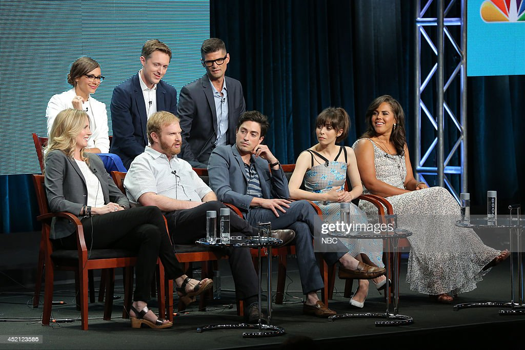 EVENTS -- NBCUniversal Press Tour, July 2014 -- 'A to Z' Session -- Pictured: (l-r) top row: Rashida Jones, Executive Producer; Ben Queen, Executive Producer; Will McCormack, Executive Producer; bottom row: Christina Kirk, Henry Zebrowski, Ben Feldman, Cristin Milioti, Lenora Crichlow --