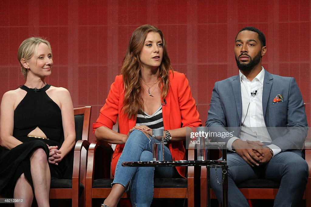 EVENTS -- NBCUniversal Press Tour, July 2014 -- 'Bad Judge' Session -- Pictured: (l-r) Anne Heche, Executive Producer, Kate Walsh, Tone Bell --